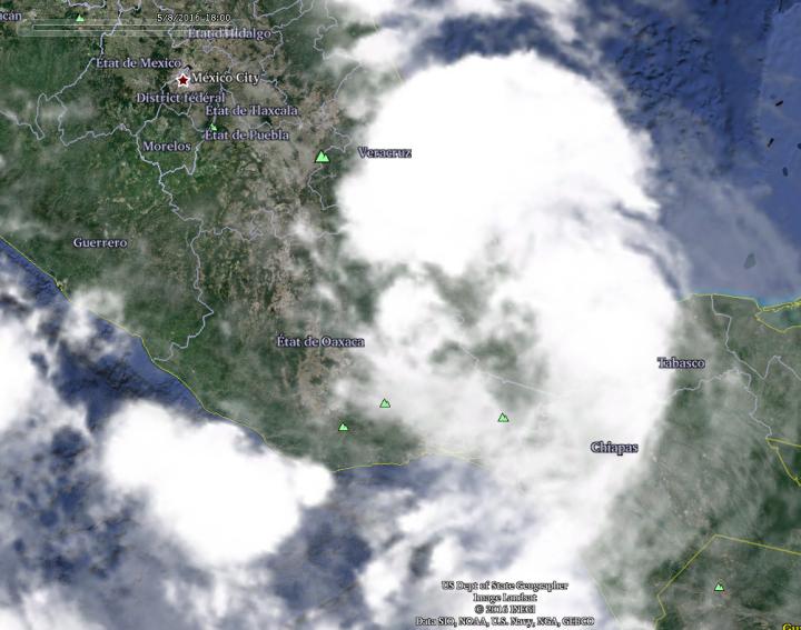 Localisation géographique de Earl avec les Etats mexicains et pays à 18h00 UTC