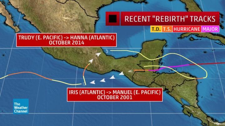 """Deux exemples de cyclones tropicaux récents dont les restes contribué à lancer un nouveau cyclone tropical dans le bassin de l' océan adjacent. (Données: NOAA / AOML) d'après article de """"The Weather Chanel"""""""