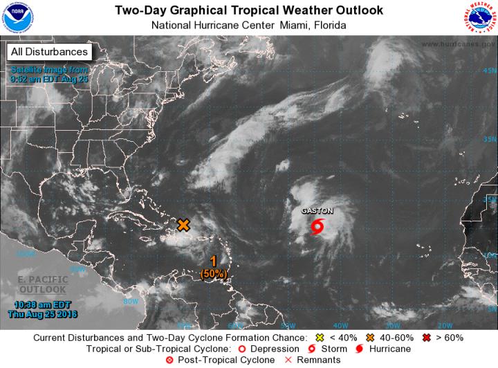 Systèmes tropicaux en cours le 25/08/2016 sur le bassin Atlantique - Source : National Hurricane Center