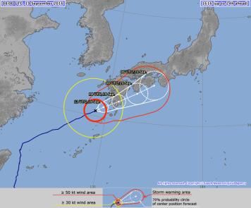 Prévision de trajectoire du Typhon Malakas selon le JMA (Japan meteorological agency) à 8h00 UTC le 19/02/2016