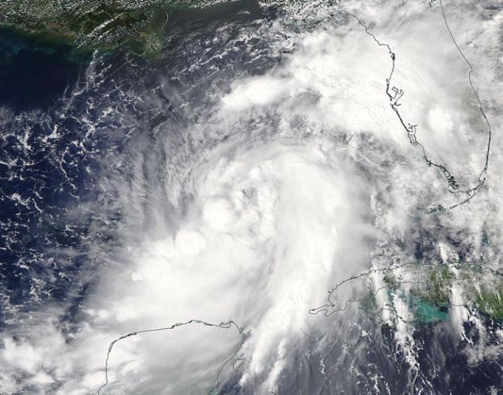 Image satellite visible MODIS -Tempête tropicale Hermine - mercredi 31 août 2016 dans l'après-midi - Image credit : NASA.