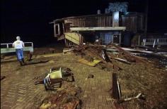 Maison très endommagée à Cedar Key le 02/09/2016 au petit Matin. - Photo AP