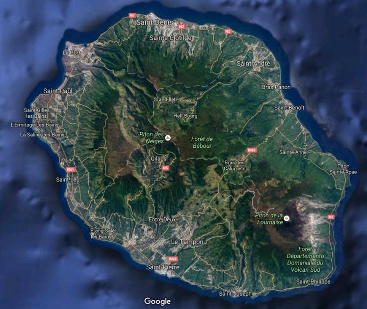 L'île de la Réunion sur Google Maps