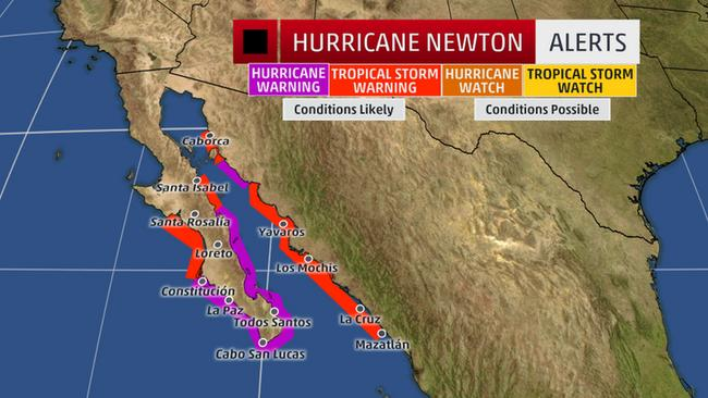 Carte des zones d'alertes pour l'ouragan Newton - Source weather.com