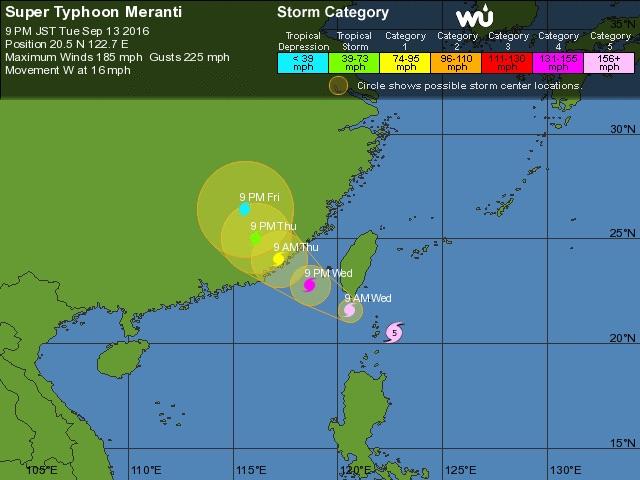 Représentation de la prévision de trajectoire JTWC par Wunderground.com du typhon Meranti à 12h UTC mardi 13/09/2016