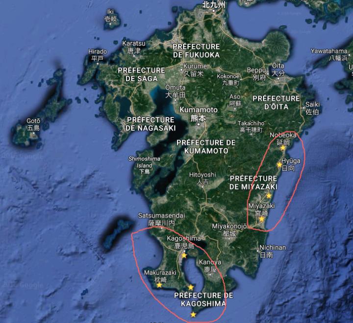 Carte de Kyushu - Google Maps - les étoiles jaunes correspondent aux lieux les plus touchés par les précipitations