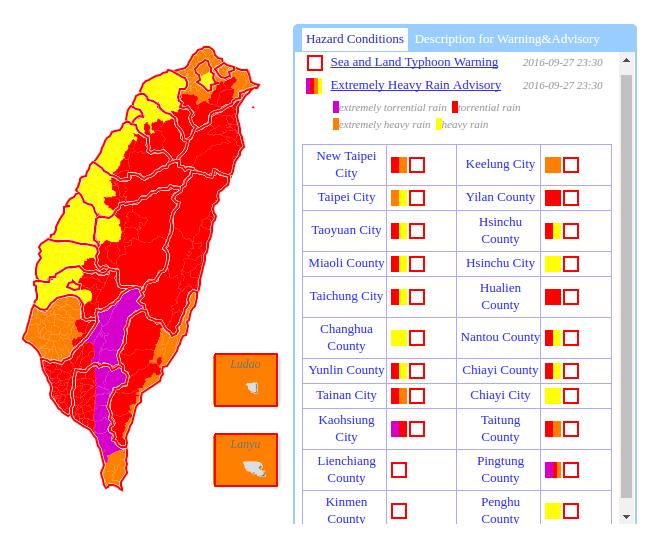 Alertes en cours sur l'île de Taïwan - Typhon Megi - 27/09/2016 à 23h30