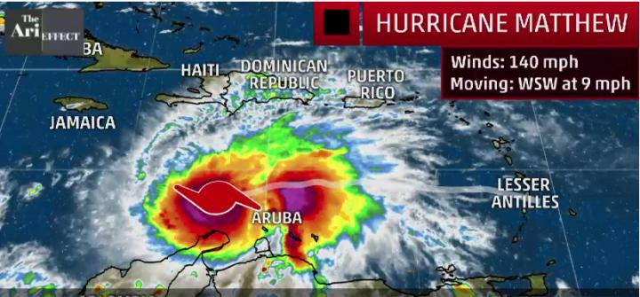 Situation actuelle de l'ouragan Matthew - Weather Channel - copie d'écran