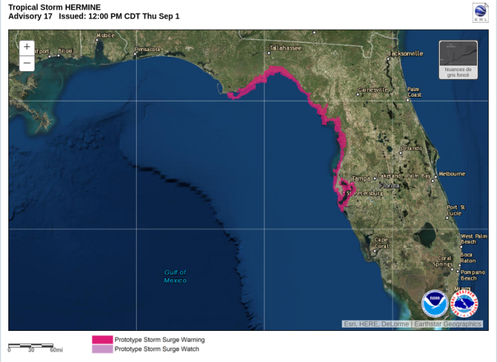 Projet expérimental cartographie onde de tempête - Tempête tropicale Hermine - 17h UTC - Source : NOAA/NHC/National Weather Service
