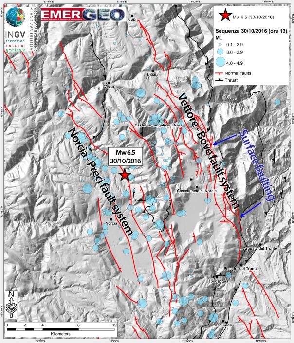 Carte des épicentres du séisme du 30/10/2016 et des répliques - Source : INGV