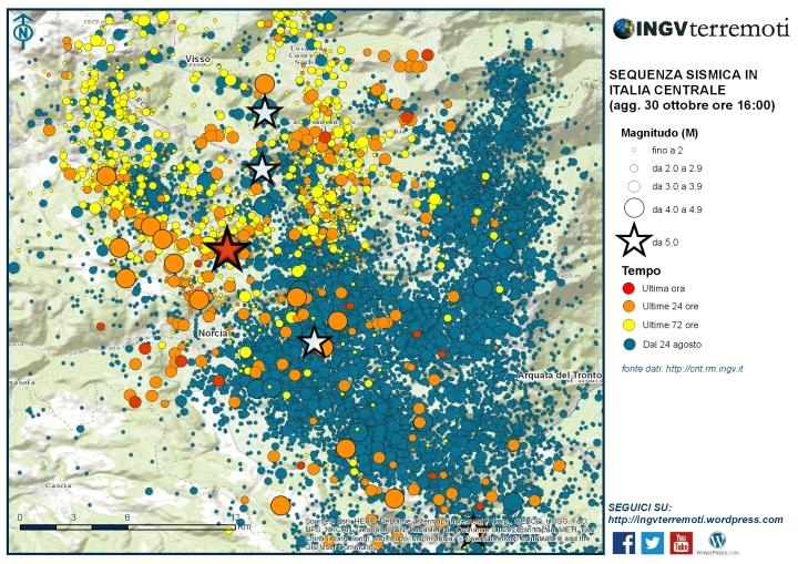 Carte des séismes des 2 derniers mois et des répliques - 30/10/2016 à 16:00 - Source : INGV