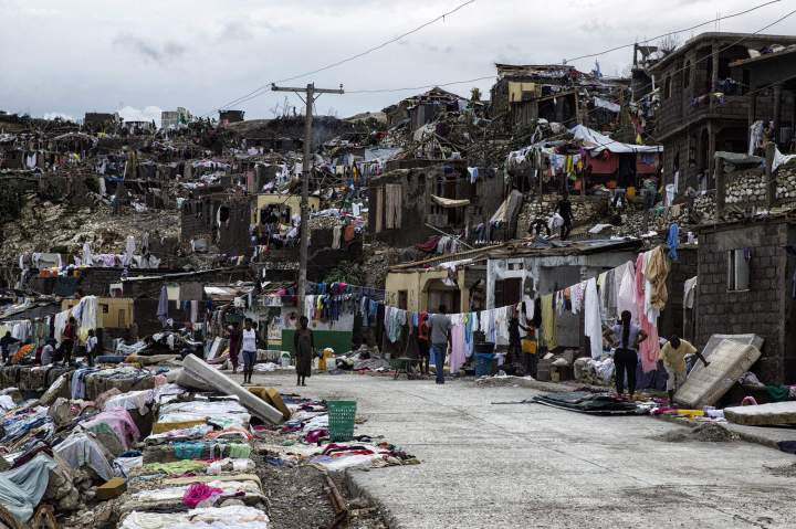07 October 2016 by MINUSTAH showing the destruction in the city of Jeremie, Haiti on 6 October 2016, in the west of the country, that with Les Cayes, suffered the greatest destruction as a result of Category 4 hurricane Matthew. The death toll in Haiti by Hurricane Matthew increase to 820, according to the Haitian government. EPA/Logan Abassi / MINUSTAH NYTCREDIT: Logan Abassi / Minustah Handout/European Pressphoto Agency