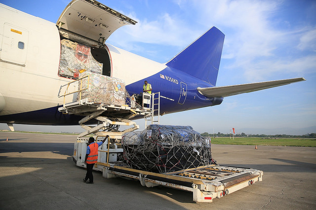 Photo: ©PAHO/WHO Haiti. A cargo plane arrives in Port-au-Prince with 69 tons of supplies donated by the Government of France, including medicaments and emergency supplies.
