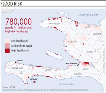 """Haïti : Populationd les plus exposées aux inondations Source : UNOSAT, Appel d'urgence (""""Flash Appeal"""") 10 octobre"""