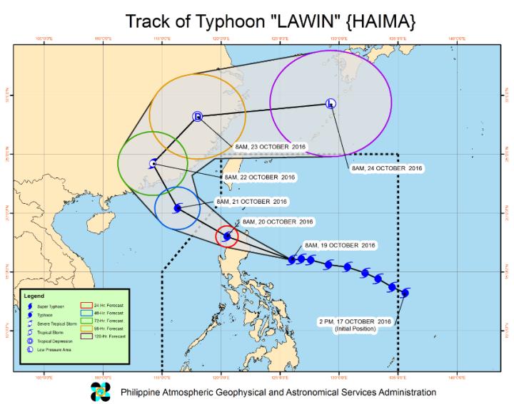 Trajectoire prévue de Haima - Source PAGASA-DOST