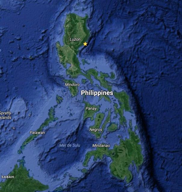 Carte des Philippines - Google Maps avec emplacement où Haima devrait toucher terre.