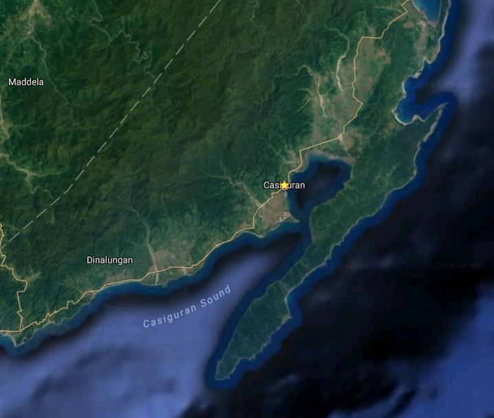 Zone où le typhon devrait toucher terre - Google Maps