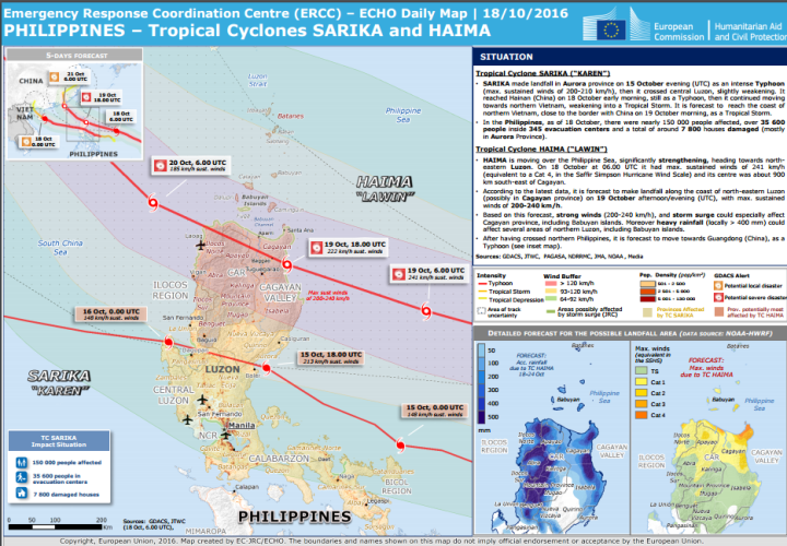 Typhons Sarika et Haima - Relief Web - ECHO Daily Map | 18/10/2016