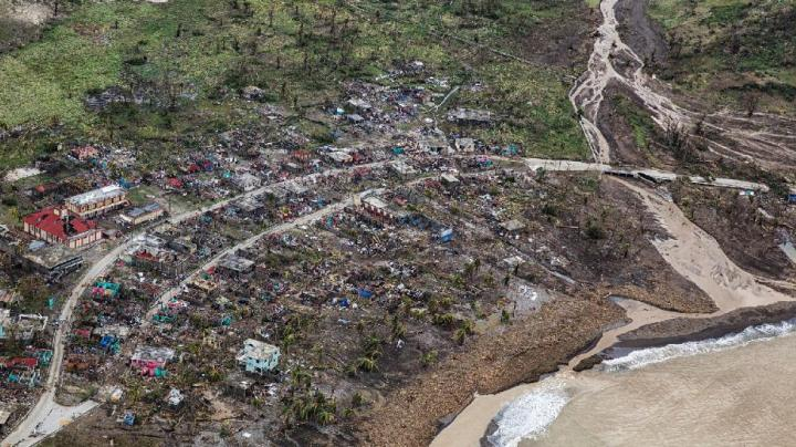 Damage in Jeremie, Haiti, from Hurricane Matthew is seen from above in this image taken Thursday, Oct. 6, 2016. (MINUSTAH)