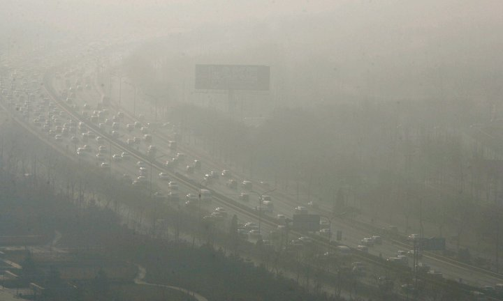 Traffic and smog in Beijing, China. Photograph: David G Mcintyre/EPA