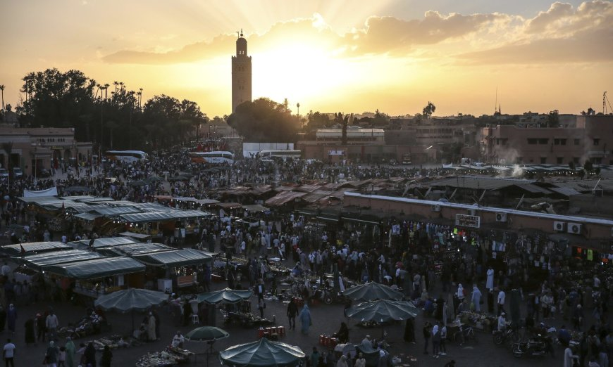 Jemaa el-Fnaa square in Marrakech, Morocco, where global leaders are meeting for the 22nd UN climate summit (Cop22). Photograph: Mosa'ab Elshamy/AP