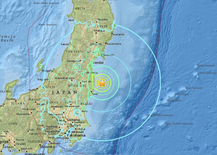 Séisme Japon - 21-11-2016 - USGS