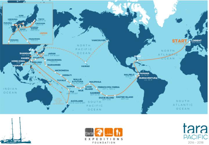 Carte de l'expédition Tara 2016-2018