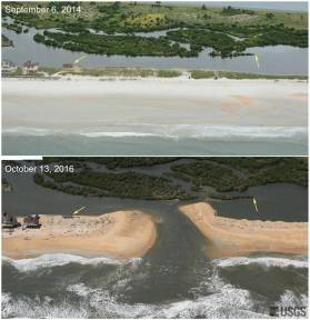 Hurricane Matthew washed away a long stretch of beach new Stuart earlier this month. Altogether, the storm destroyed about 15 percent of the state's dunes, a preliminary review has found. U.S. Geological Survey