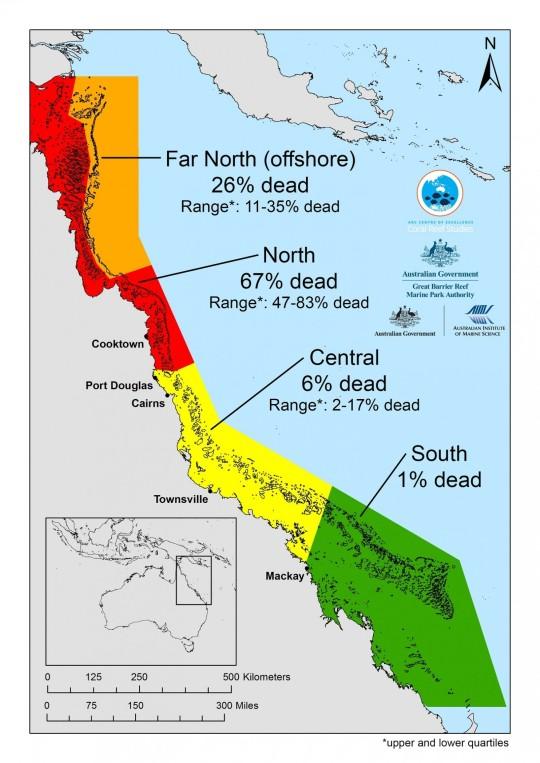 La carte, détaillant la perte des coraux sur la Grande barrière de corail, montre comment la mortalité varie énormément du nord au sud. (Centre d'excellence pour ARC Coral Reef Studies)