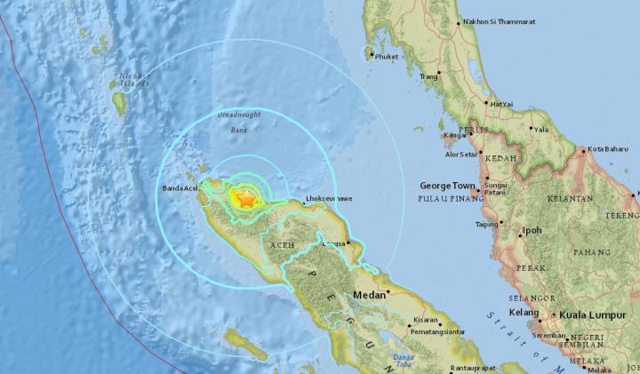 Carte interactive USGS avec épicentre et propagation de l'onde de choc