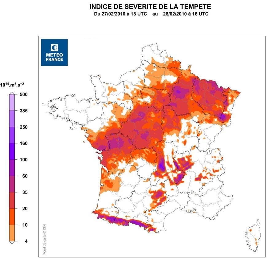 Indice de sévérité SSI de la tempête Xynthia - Source : Météo France