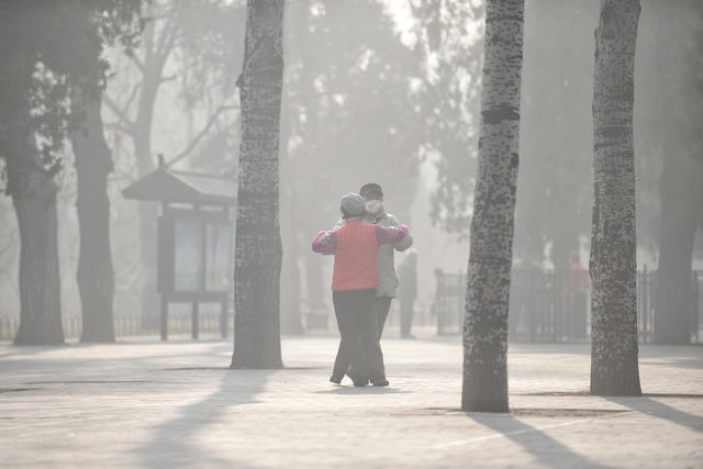 Des chinois font de l'exercice dans un parc de Pékin, un jour de pollution ( 5 janvier 2017) © Reuters / China Stringer Network