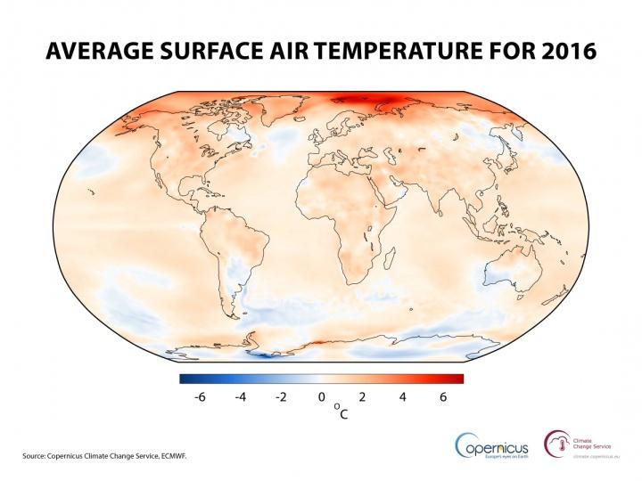 Température de l'air à une hauteur de deux mètres pour 2016, rapportée à la moyenne 1981-2010. Source: Copernicus Climate Change Service, ECMWF. (Crédit: ECMWF, Copernicus Climate Change Service)