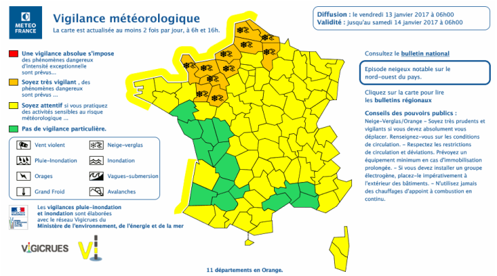 Vigilance métééorologique 13/01/2017 à 06h00 - Source : Meteo France