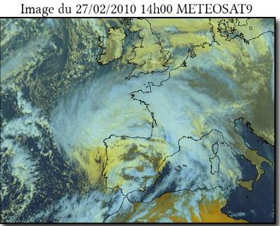 Image satellite de la Tempête Xynthia - Source Météo France