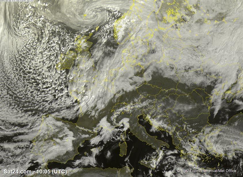 Image satellite visible en temps réel - Source : sat24.com 10h05 UTC --> 11h05 heure française