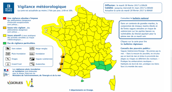 Actualisation de la vigilance vagues submersion - Meteo
